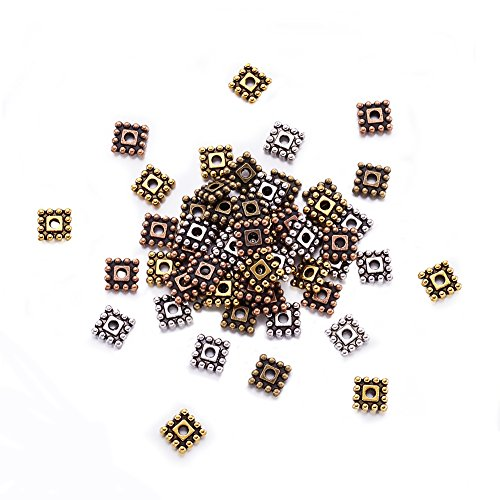 Nickel Bracelets Square (Kissitty About 650pcs 4 Colors Tibetan Style Square Sapcer Beads 7x7x2mm Cadmium Free & Nickel Free & Lead Free)