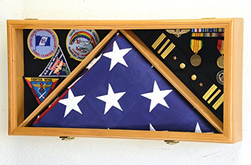 Large Flag & Medals Military Pins Patches Insignia Holds up to 5×9 Flag Display Case Fr ...