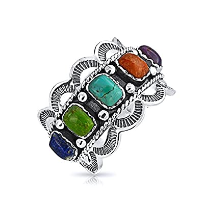 Bling Jewelry Southwest Style Synthetic Multistone Scalloped Edge Sterling Silver Ring on sale