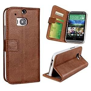 CHSH 2 in 1 Matte Monedero Funda de genuino Cowskin Cuero cáscara para HTC One M8 con cierre magnético tarjeta efectivo espacio y soporte Cover marrón