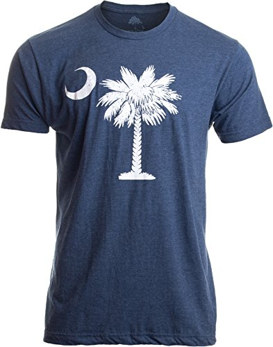 South Island Shirt - South Carolina Flag | Palmetto Moon Carolinian SC Charleston Men Women T-Shirt-(Adult,L) Vintage Blue