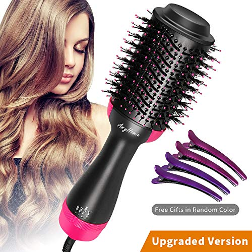 AmyHomie One Step Hair Dryer Volumizer, 4-in-1 Hot Air Brush, Negative Ion Electric Blow Dryer Straightener Curler, Styling Hair Dryer Styler for All Hair Type with 4 Pcs Duck Clips
