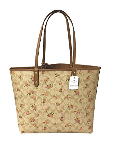 City Multi Im Khaki Tote Light Signature Coach PVC F36609 Reversible qvzYzt