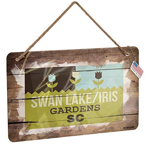NEONBLOND Metal Sign US Gardens Swan Lake/Iris Gardens - SC Christmas Wood (Iris Metal Garden)