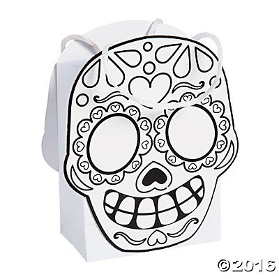 [Color Your Own Day of the Dead Party Favor Treat Bags - 12 ct] (Day Of The Dead Party Supplies)