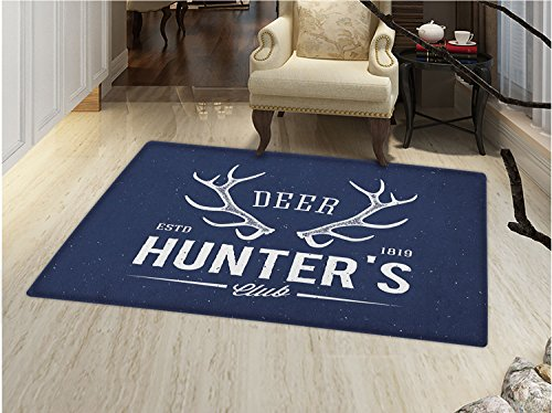 - smallbeefly Hunting Bath Mats Carpet Deer Hunters Club Logo Design with Antlers Retro Typography Shabby Style Icon Floor Mat Pattern Navy Blue White