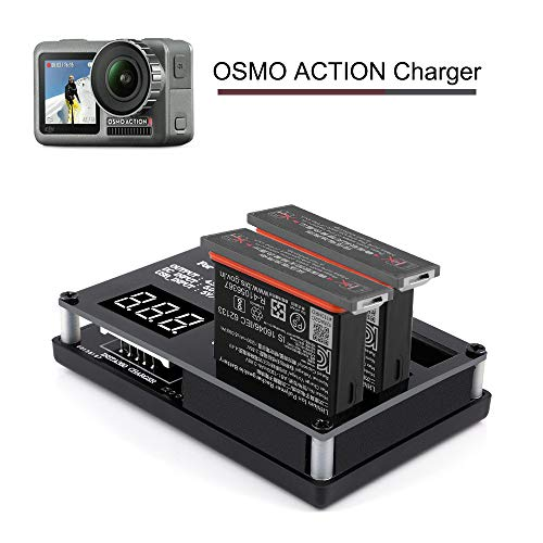 DJI Osmo Intelligent Battery Charger,3 in 1 Charging Station Smart Multi Rapid Battery Charger with Digital Screen,Portable Outdoor Charging Hub 60 mins Quick Charger for DJI OSMO Action Camera