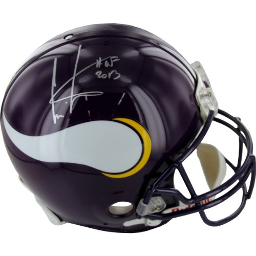 NFL Minnesota Vikings Cris Carter Autographed Helmet with Hall of Fame Inscription by Steiner Sports