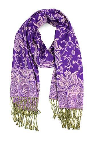 Paskmlna Reversible Paisley Pashmina Shawl Wrap Elegant Colors (#15Purple) (Reversible Paisley Pashmina Shawl)