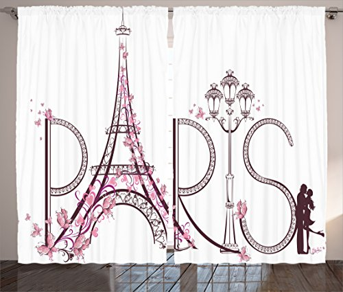 Ambesonne Paris City Decor Collection, Tower Eiffel with Paris Lettering Illustration Couple Trip Flowers Floral Artful Design, Living Room Bedroom Curtain 2 Panels Set, 108 X 84 Inches, Pink White -