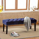"""AZUFI 48"""" Blue Velvet Fabric Tufted Upholstered Panel Bed Bench / Vanity Chair , with Nailhead Trim and 12"""" Black Wood Leg, for Entryway / Settees / Standard Benches / Vanity Bench"""