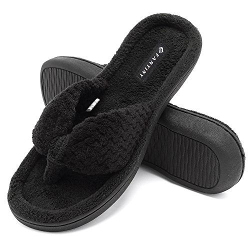 - CIOR Fantiny Women's Cozy Memory Foam Spa Thong Flip Flops House Indoor Slippers Plush Gridding Velvet Lining Clog Style-U1MTW017-Black -38-39