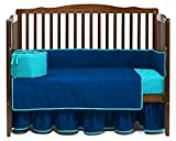 Nursery Baby Reversible Toddler Bed Bedding Set 100% Egyptian Cotton 500 TC 5-Piece Set Fitted Sheet, Dust Ruffle Skirt,Comforter, Flat Sheet ,Pillowcase (Blue/Turquoise,Toddler Bed)
