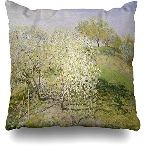 Staronov Throw Pillow Cover Orchard Blue Spring by Claude Monet French Hills Green 19Th Century Agriculture Argenteuil History Home Decor Design Square Size 18x18 Inches Zippered Cushion ()