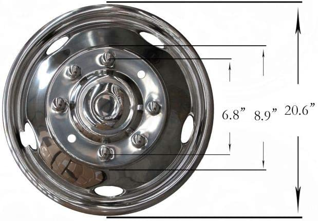 GIMAE 4pcs fit 99-02 Ford F-450 Super Duty Front+Rear Polished Stainless Steel 19.5in Dually 8 Lug 5 Hand Hole Wheel Simulators Hub Caps Skins Liners Covers R19.5 with Installation kits /& Tools GMF8
