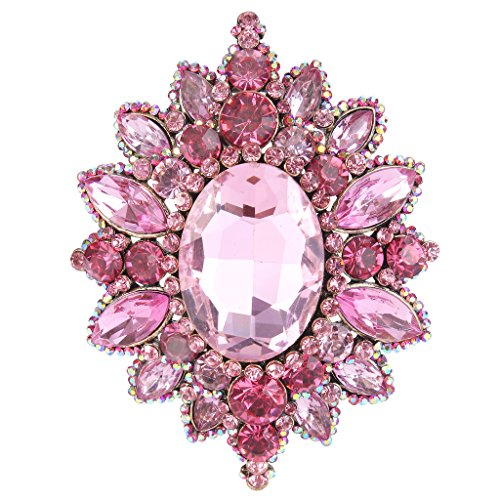 EVER FAITH Women's Rhinestone Crystal Elegant Sunflower Brooch Pink Antique Gold-Tone