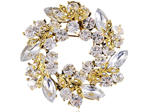 Alilang Womens Diamond Inspired Floral Wreath Holiday Christmas Old Fashion Brooch Pin, Gold