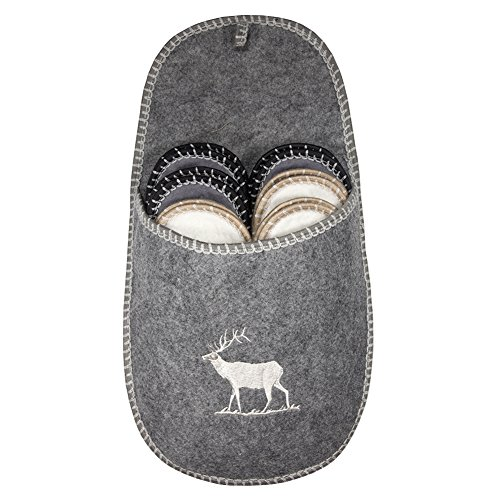 SLIPPERTREND Fleece Felt Close Toe 6 Pairs Deer House Non Slip Guest Slippers Set Grey by SLIPPERTREND