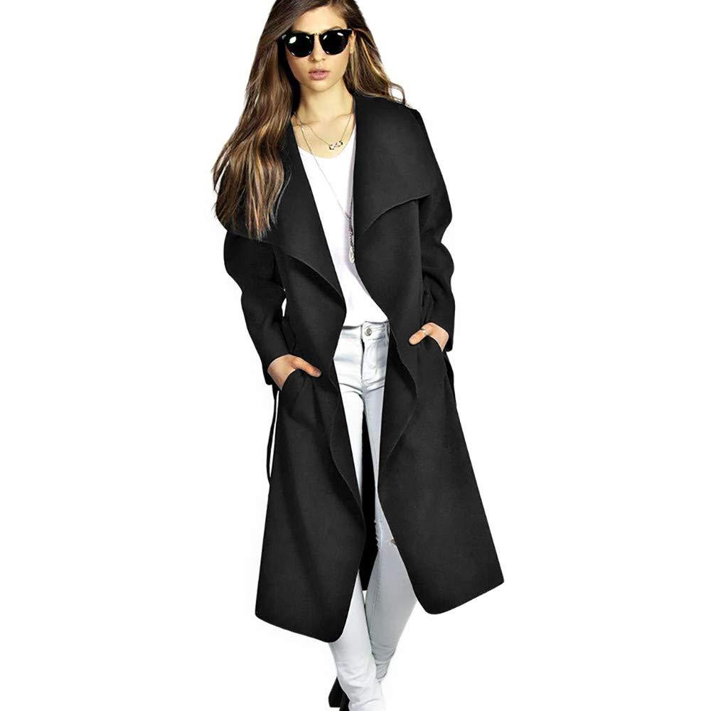 42713b54837 Amazon.com  Pan Hui Women Winter Casual Cardigan Plus Size Coat Solid Long  Sleeve Lapel Collar Pocket Wool Blend Belt Slim Outwear  Clothing