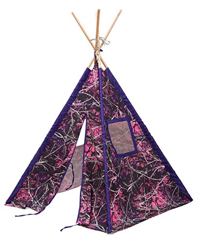 Kids Camo Teepee Tent Play Fort (Purple Muddy Girl)