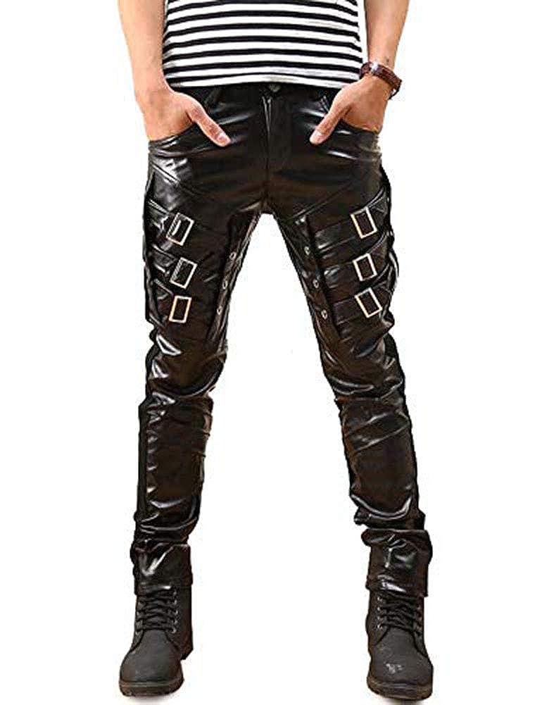 692921170ff2 Idopy Men`s Hip Hop Biker Black Faux Leather Pants Trousers  Amazon.co.uk   Clothing