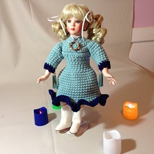 Musical Porcelain Doll handmade blonde ribbon crochet necklace white boots light green dark blue Blonde Antique Cabinet