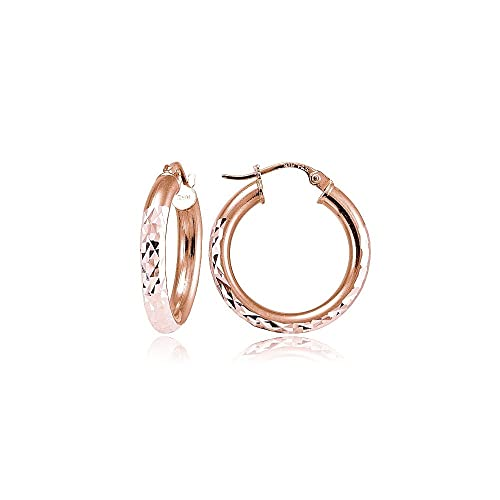 90d1bd78c Rose Gold Flash Sterling Silver 3mm Diamond-Cut Round Hoop Earrings, 15mm.  Roll over image to zoom in. Hoops & Loops