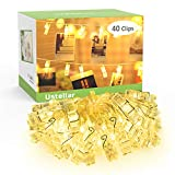 Ustellar 18ft 40 LED Photo Clips String Lights, Waterproof Battery Operated Fairy Twinkle Lights for DIY Wedding Party ChristmasDecoration, Bedroom Hanging Photos, Cards and Artworks, Warm White