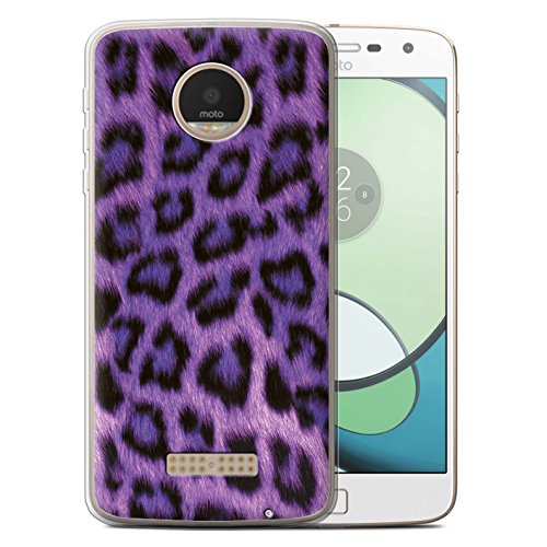 Leopard Skin Phone Protector Case - STUFF4 Gel TPU Phone Case / Cover for Motorola Moto Z Play/Droid / Purple Design / Leopard Animal Skin/Print Collection