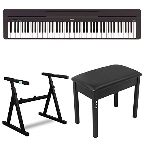 Yamaha P45B 88 Key Digital Piano with Knox Z Style Keyboard Stand and Piano Bench by Yamaha