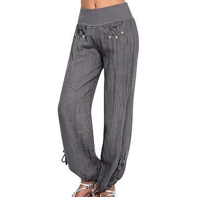 Meikosks Ladies Cotton and Linen Pants Buttons Solid Colors Trousers Plus Size Bottoms Wide Leg Pant: Clothing