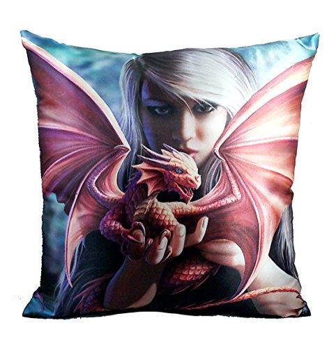 Dragon Tile Box (NEW ANNE STOKES FANTASY, DRAGON, FAIRY ART, DECORATIVE FABRIC THROW PILLOW 15X15, **YOUR CHOICE OF ART