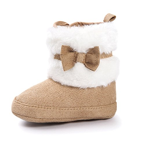 Estamico Baby Girl Plush Winter Snow Bowknot Boots Khaki US (Girl Shoes Boots)
