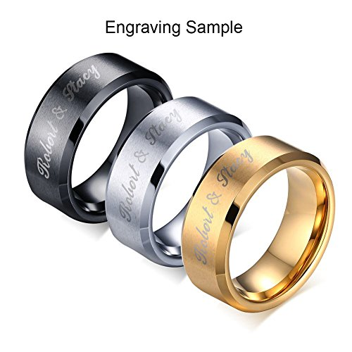 Vnox 3Pcs A Set Free Engraving Custom 8MM Stainless Steel Plain Band Ring for Men,Size 13