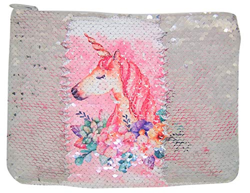 (Pink Unicorn Reversible Sequin Makeup Pouch, 8 1/2 Inch)