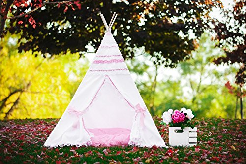 (Kids Teepee Pink and White Princess Lace Frills Tipi with Poles Girls Large Playhouse Play Photo prop Indoor Tent Small Canvas Teepee)