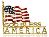 Alilang Golden Tone God Bless America Flag Rhinestone Brooch Pin -- American Patriotic Jewelry