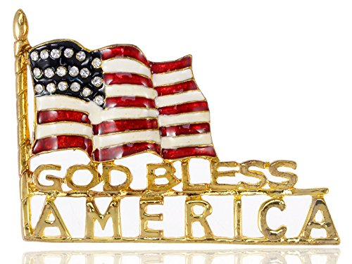 Alilang Golden Tone God Bless America Flag Rhinestone Brooch Pin -- American (Safety Pin Flag)