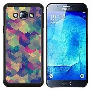 TECHCASE---Cubierta de la caja de protección para la piel dura ** Samsung Galaxy A8 ( A8000 ) ** --Teal Beige Modelo púrpura calma