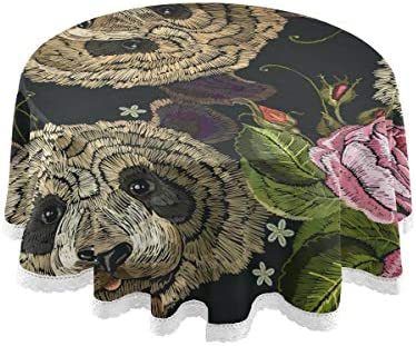 テーブルクロス 食卓カバー パンダ バラ 動物 花 個性 テーブルマット 円形 北欧 撥水加工 汚れ防止 家庭用 高密度 おしゃれ ポリエステル素材 直径150cm