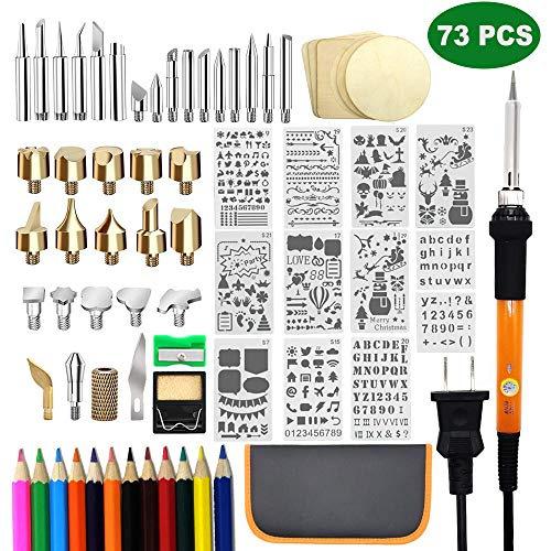 73 PCS Wood Burning Set, Creative Wood Burner Tool with Adjustable On-Off Switch Control Temperature 200~450 ℃ Professional Wood Burning Pen and Various Wooden Carving/Embossing/Soldering Tips