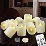 Flameless Candles LED Votive Unscented Tealight - Remote Control Timer Luminaria Tea light - Battery Operated 200+ Hours - Flickering Amber Yellow Flame 3 Modes - Decoration Wedding Holiday 9 Candles