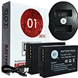 DOT-01 2X Brand 2200 mAh Replacement Canon LP-E12 Batteries and Dual Slot USB Charger for Canon Rebel SL1 Digital SLR Camera and Canon LPE12