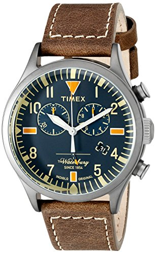 Heritage Chronograph (Timex 'Waterbury' Quartz Stainless Steel and Leather Dress Watch, Color:Brown (Model:)
