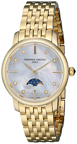 Frederique Constant Women's FC206MPWD1S5B Diamond-Accented Gold-Plated Stainless Steel Watch