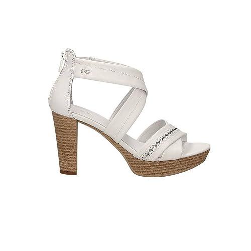 Scarpe NeroGiardini donna P805610D sandali pelle bianco nuova collezione
