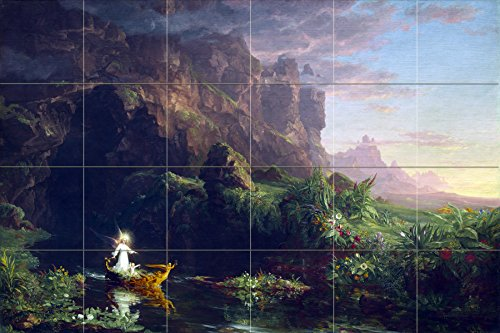Landscape trees mountain river boat fantastic by Thomas Cole Tile Mural Kitchen Bathroom Wall Backsplash Behind Stove Range Sink Splashback 6x4 4.25'' Ceramic, Matte by FlekmanArt