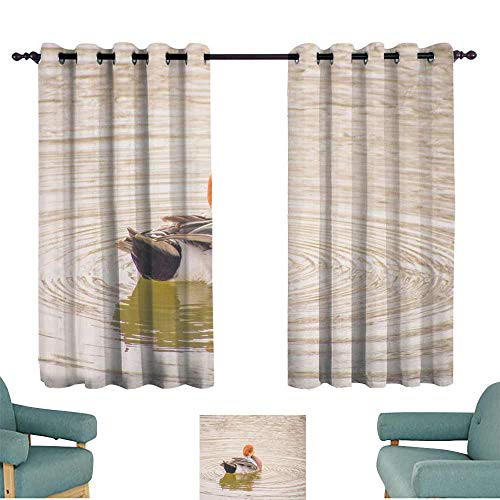 WinfreyDecor Bedroom Windproof Curtain Male Wigeon in The Lake Set of Two Panels 63