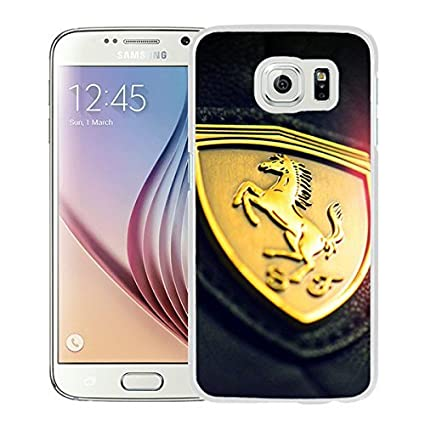 Gold Ferrari Insignia Logo White Samsung Galaxy S6 Screen