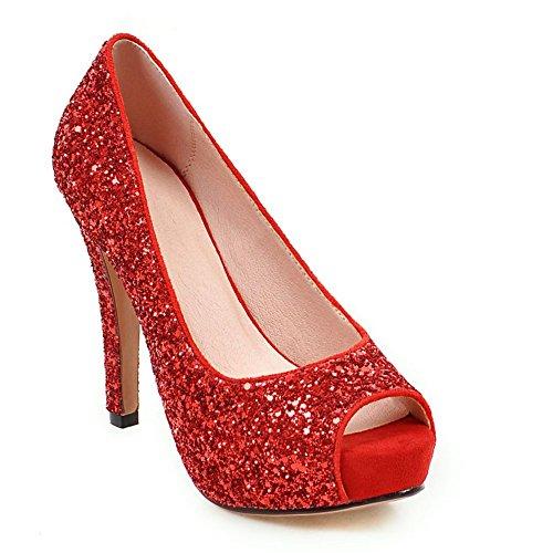 DecoStain Women's Sequins Thin High Peep-Toe Heel Sequin Fabric Platform Shoes Wedding Party Pumps (Peep Toe Sequin)